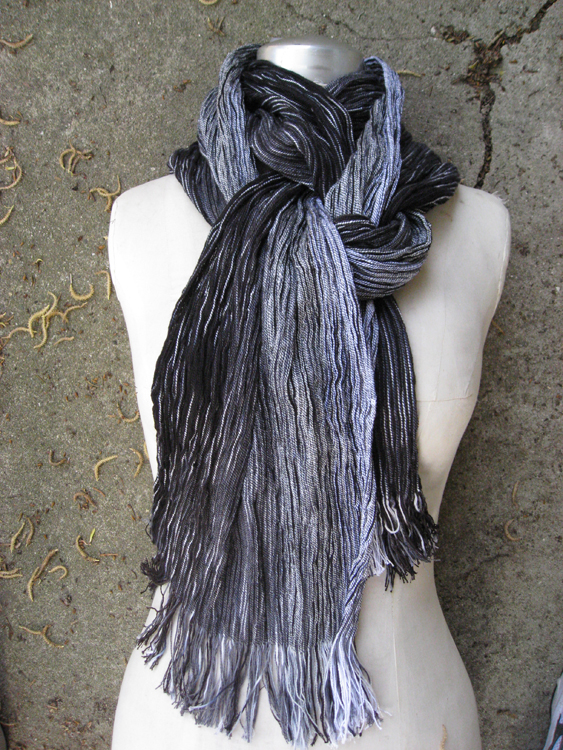 Newsprint Pleated Shawl – Handwoven Collapse Weave