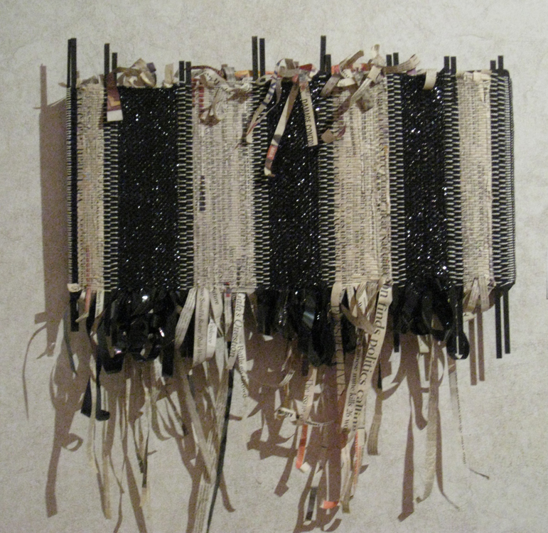 """Sticks, Lies and Videotape"" – Handwoven Newsprint & VHS Tapes"
